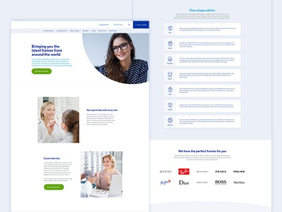 Glasses pages lists web ux post user interface opticians websites web design ui