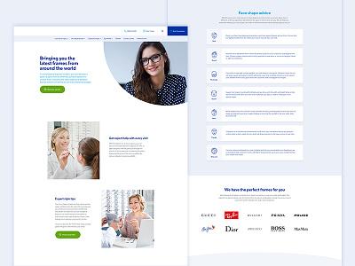 Glasses pages lists web ux post user interface opticians websites web design ui
