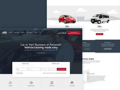 Car Leasing Homepage Concept vans cars icons lists web ux post user interface leasing websites web design ui