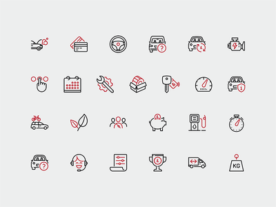 Car Leasing icons ux ui web leasing car responsive mobile icons cars