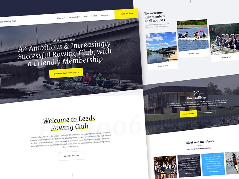 Leeds Rowing Club Homepage landing home homepage leeds rowing club articles ui ux blog rowing