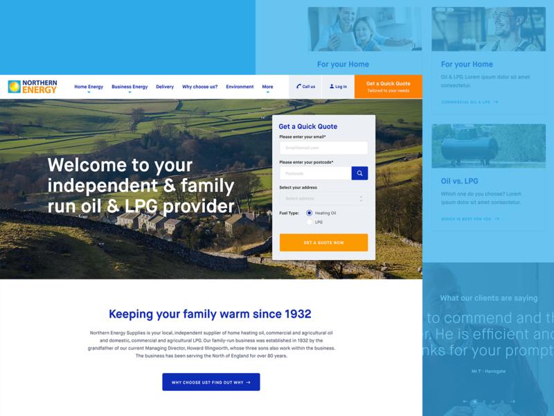 Energy homepage design web interface yorkshire homepage ui