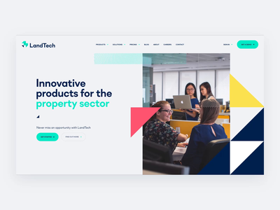 Landtech Property Product Hero Animation homepage startup product product page web agency ux ui