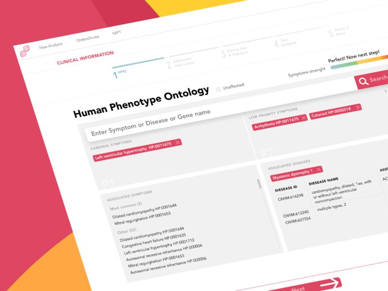 Genetic analysis app medical app genetic cards tags wizard stepper desktop app desktop design