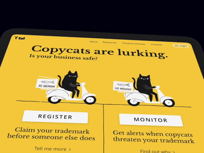Trademarking landing page trademark copycat cat yellow tablet design animation cartoon home page design landing page