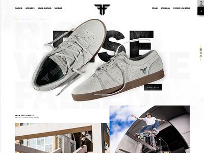 Fallen Footwear design web white black ux ui skateboarding fashion shoes ecommerce homepage