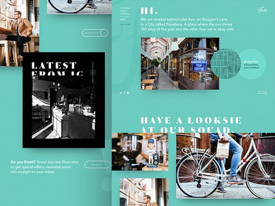 Float About Page typography gallery instagram aqua site website design web ui float about us
