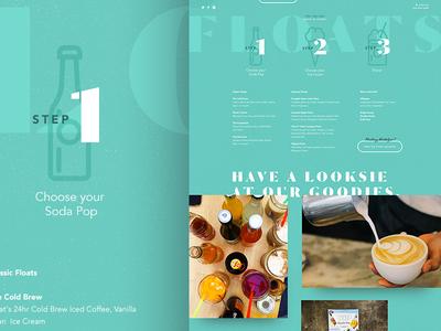 Icons & Menu Page Layout aqua web ux ui design menu ice cream float pop soda icons