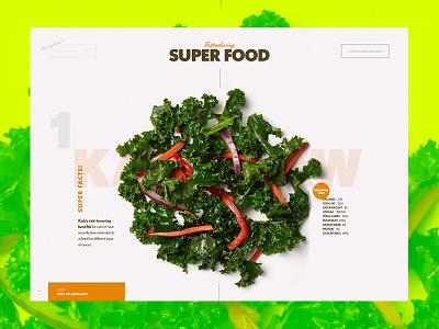 Super Food Ingredients food restaurant interactive vegetables details presentation motion design web ui ux exploration