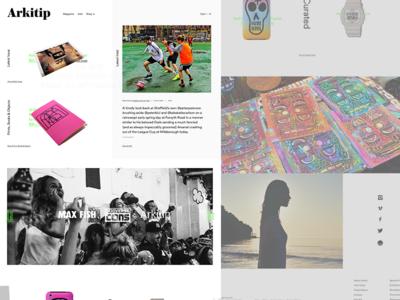 Arkitip Pitch Homepage design web white black ux ui culture magazine art fashion ecommerce homepage