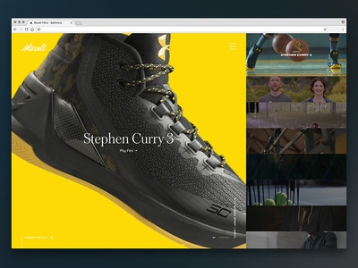 Video Driven Homepage portfolio under armour shoes web design production company film ui homepage video