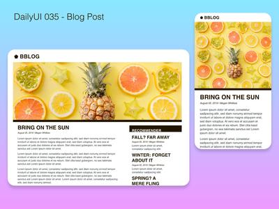 DailyUI 035 - Blog Post