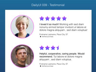 DailyUI 039 - Testimonial