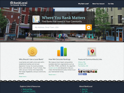 Banklocal Homepage v1 home page