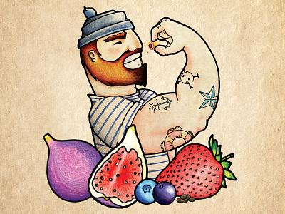 Cap'n Mac Figgins sharpie pencils colored beards tattoos figs fruit sailor cookies packaging food