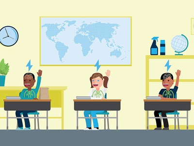 Kids in a classroom education vector kids graphics motion