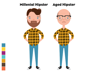 Aged Hipster aging hipster millenial animation vector