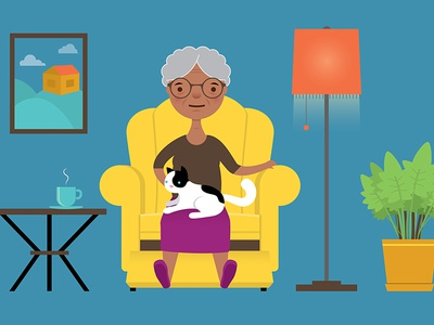 Senior Citizen granny animation vector