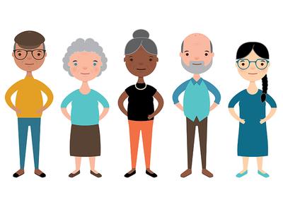 More Senior Citizens diversity aging animation vector