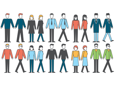 Walking Citizens animation vector characters