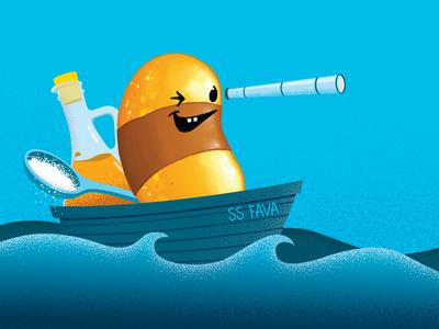 SS Fava sea sailor salt  vinegar digital painting vector fava bean