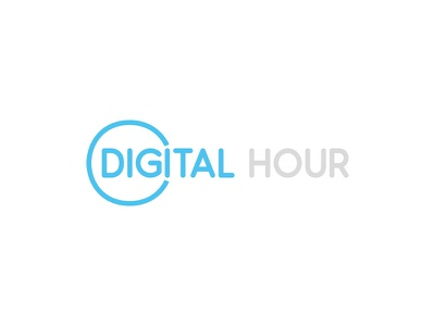 Digital Hour type minimal logo identity hour grey digital concept clock branding brand blue