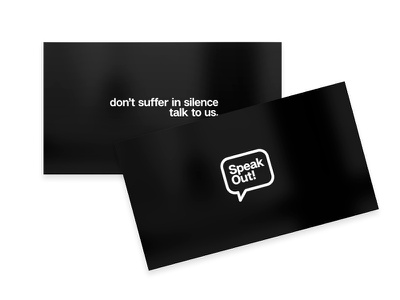 SpeakOUT! mark logotype business card mental health branding identity brand logo awareness campaign suicide male