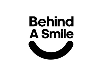 Behind A Smile Sticker Concept mentalhealth face smile charity mark creative logotype illustrator icon concept type design brand branding logo identity