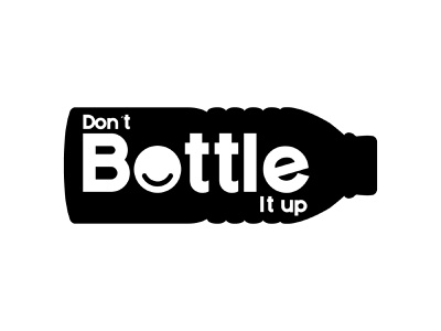 Don't Bottle It Up sticker mentalhealth charity bottle smile logotype illustrator icon concept type design brand branding logo identity