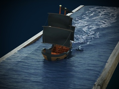 Pirate Ship graphics motion vfx foam water waves ocean realflow cinema 4d