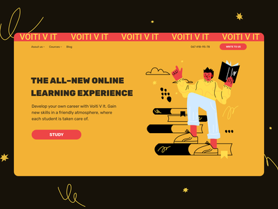 Main Banner for IT Courses web designe ui landing page courses main banner hero block illustration design
