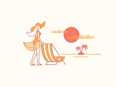 Dreamin' of simpler times sketch doodle illustration hat dress woman sunset beach