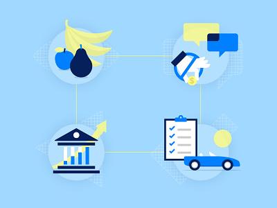 Vivid Icons bright banana car finance illustration icon