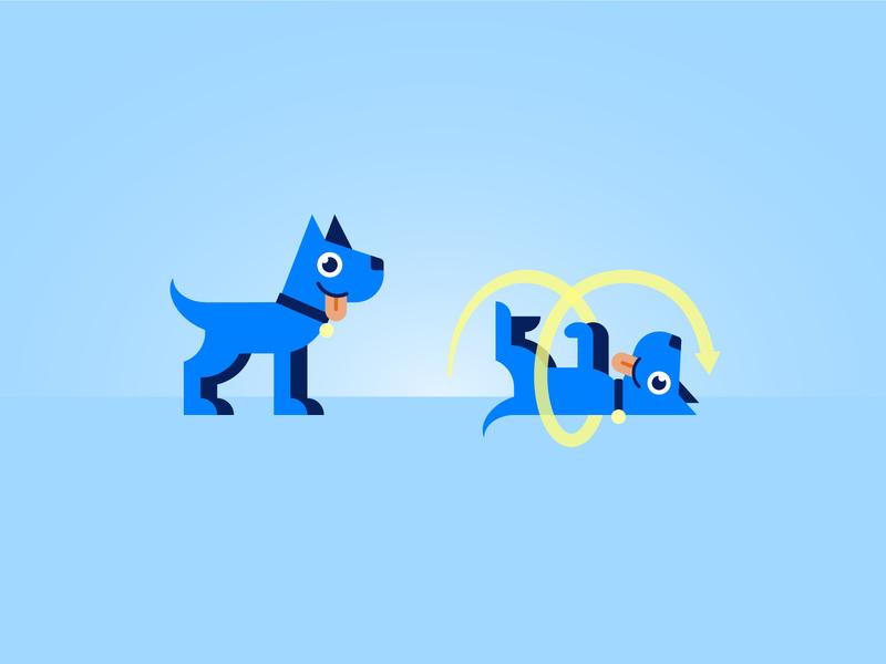 Dog stands, then rolls dogs vivid illustration dog