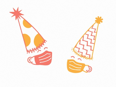 Mask Party covid celebration illustration celebrate new years party mask