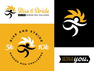 Rise & Stride Branding figure charity sun logo branding run 10k 5k race