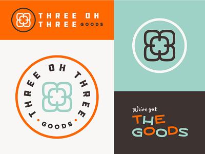 Three Oh Three Goods Branding mid-century badge flower consumer goods shop branding logo retro vintage