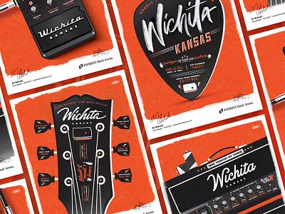 Intrust Bank Arena Ad Series pick pedal amp guitar ad illustration advertising kansas wichita music