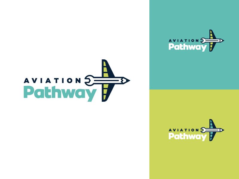 Aviation Pathway Logo Concept 3 mark logo education branding aviation aircraft