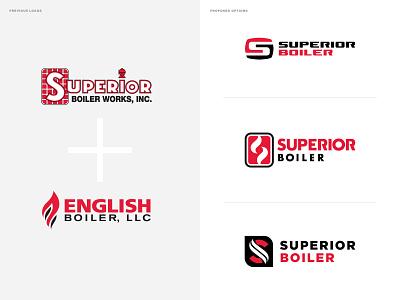 Superior Boiler Works + English Boiler Rebrand combo fire heat flame mark logo branding refresh rebrand