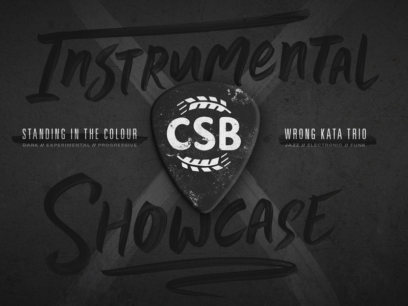 CSB Instrumental Showcase Poster texture type branding live music wichita gig poster brewery music guitar pick
