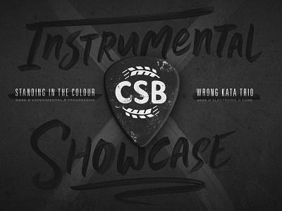 CSB Instrumental Showcase Poster texture type branding live music wichita gig poster brewery music guitar pick