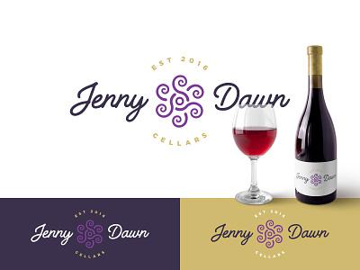 Jenny Dawn Logo script flower wine design mark branding logo refresh