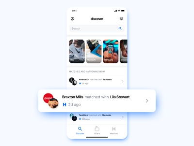 Matches are happening now ✨ collaboration partnership profile search discover feed match product brand product design mobile iphone x app ux ui