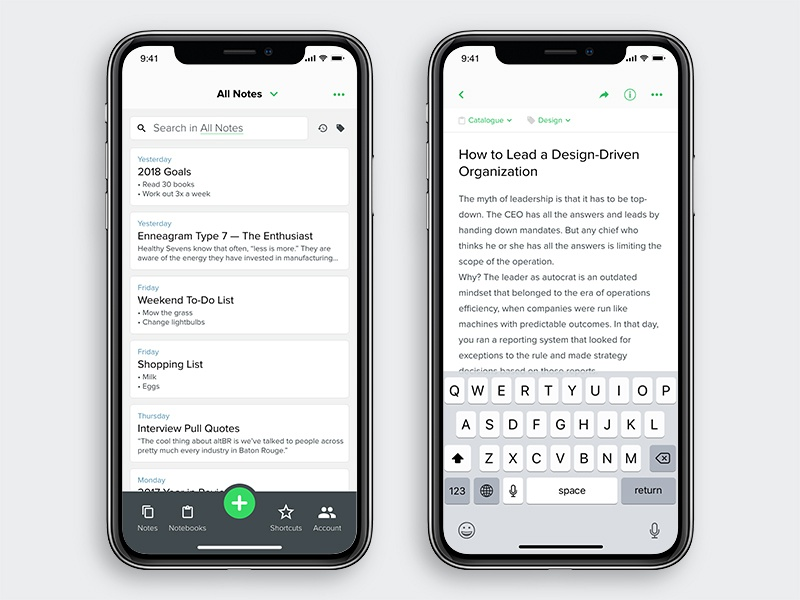 Evernote Refresh [Notebook & Note] design ux ui concept note taking iphone apple app notes iphone x refresh evernote