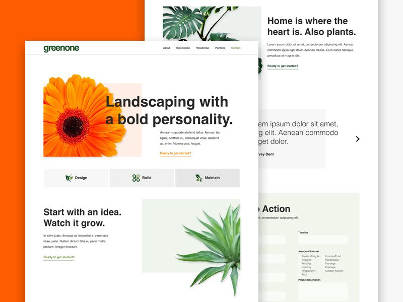 greenone.co landing page ux ui web white space design modern minimalist plants gardening yard landscaping