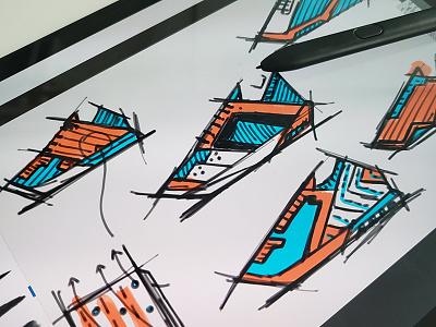 Shape/form exercise 1 photoshop adobe sketch design footwear