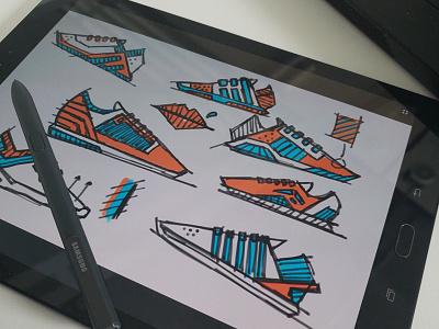 Shape/form exercise 2 photoshop adobe sketch design footwear
