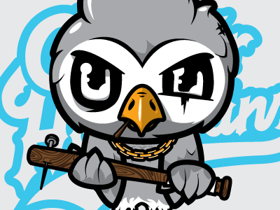 CH V2 contour hooligans owl bird bat greaser vector character illustration j3concepts jthree