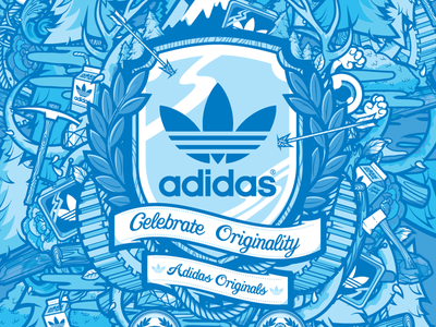 Adidas Originals Three adidas sneakers shop jthree blue concepts j3 vector illustration